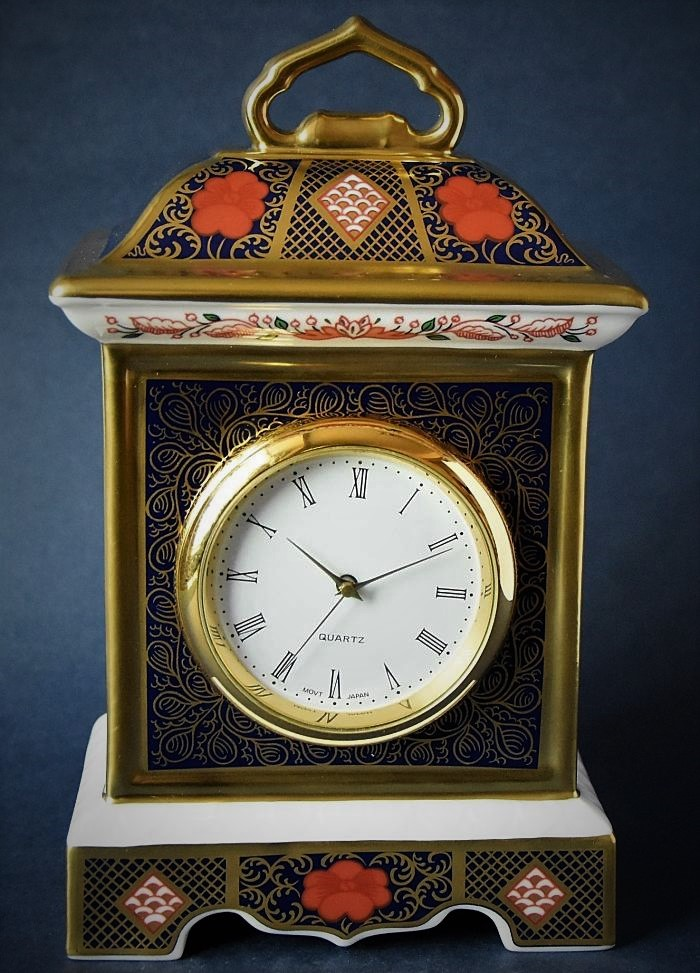 Royal Crown Derby Old Imari Solid Gold Band Mantel Clock
