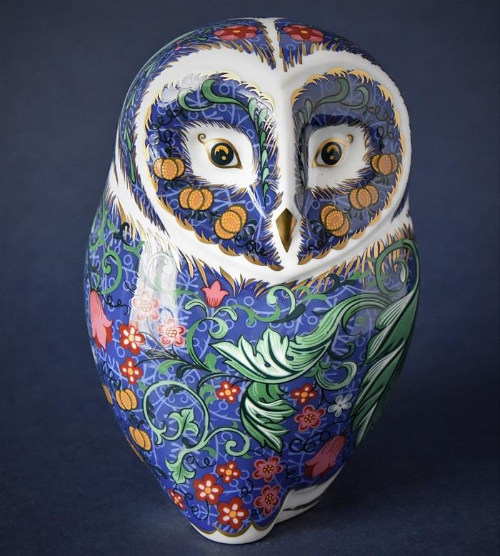 Royal Crown Derby Periwinkle Owl Inspired by William Morris