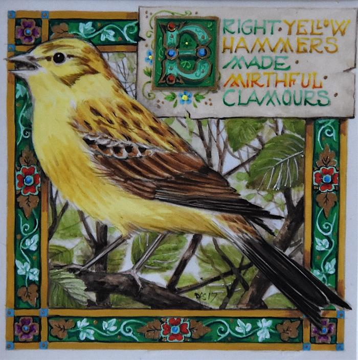 Self-Unconscious 'Bright Yellowhammers' Art inspired by Thomas Hardy Watercolour on Vellum by Debby Faulkner-Stevens
