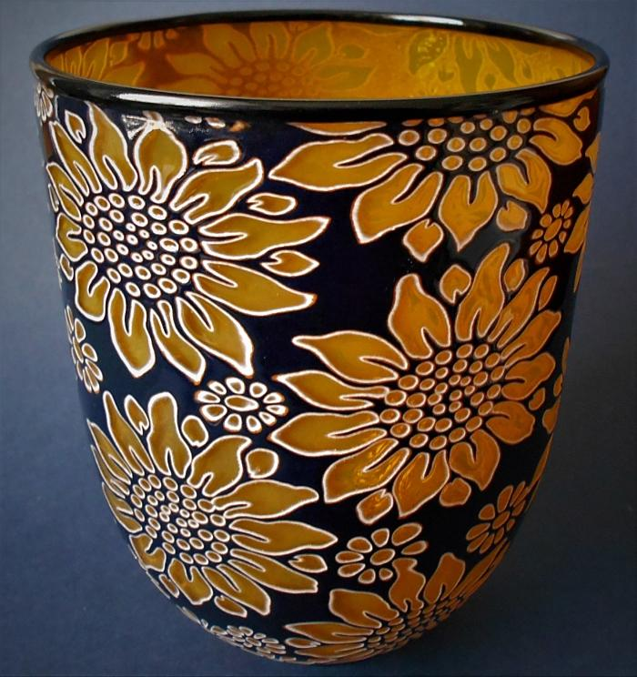 Timothy Harris Isle of Wight Studio Glass Graal Yellow and Black Tall Floral Bowl