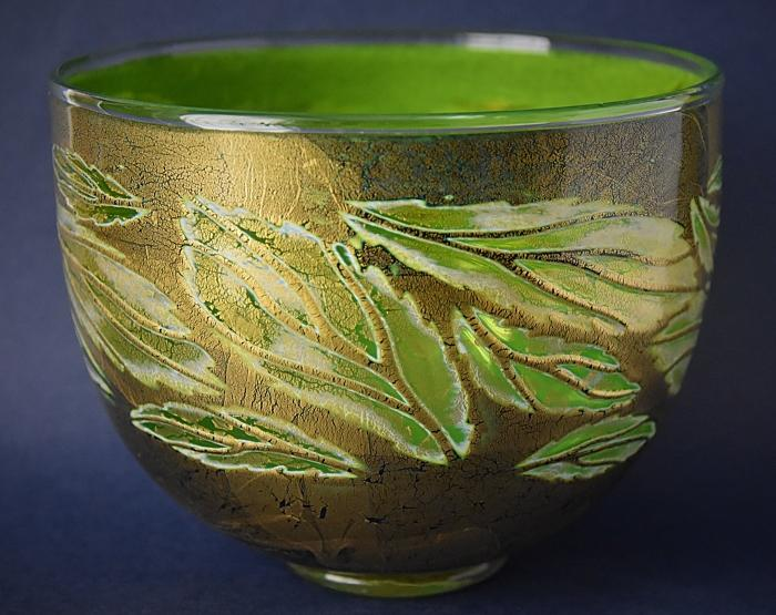 Timothy Harris Isle of Wight Studio Glass Graal Green and Gold Leaf Bowl