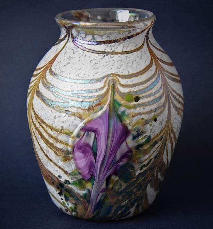 White Vase With Purple Flowers KAY3 Kayleigh Young Glass